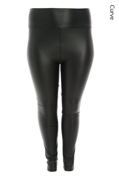 Curve Black Faux Leather Stretch Leggings